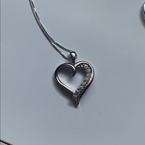 Heart diamond necklace with ring